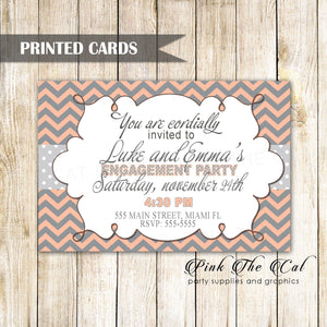 30 Wedding Engagement Invitations Coral Silver Chevron