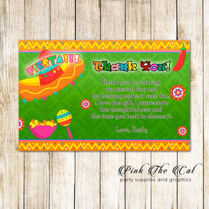 Mexican Fiesta Thank You Card Note Birthday Bridal Shower Green