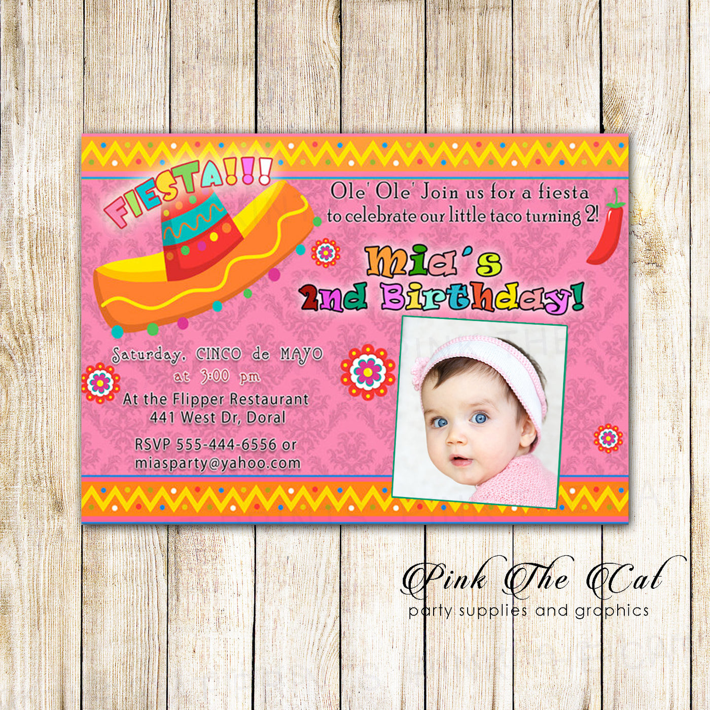 Fiesta Birthday Invitation Photo Card Pink Mexican Printable The Cat