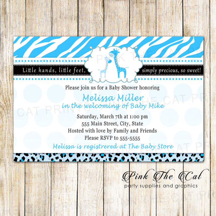 30 Invitations Giraffe Boy Birthday Baby Shower Blue Black