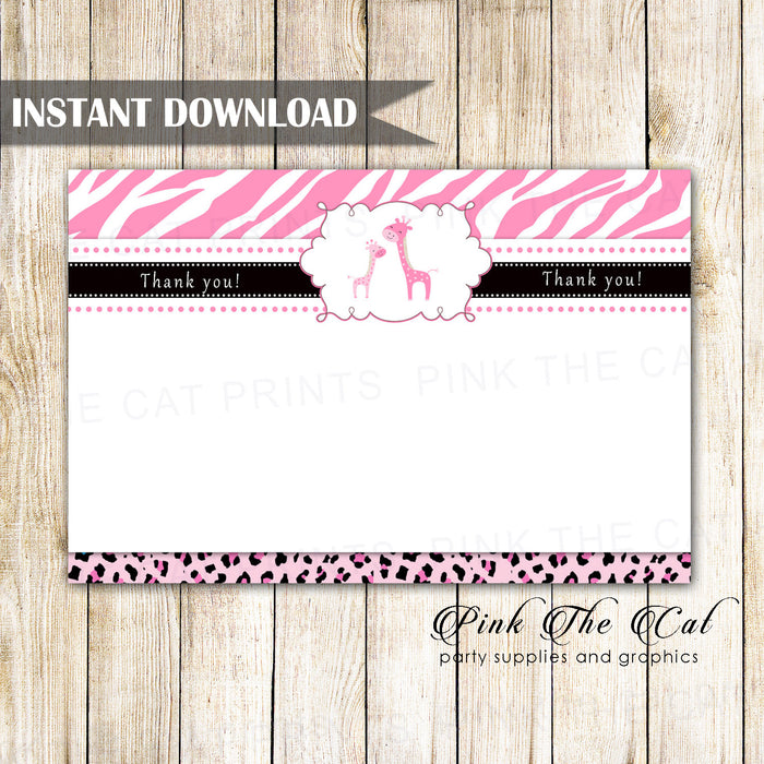Pink giraffes thank you card girl baby shower printable