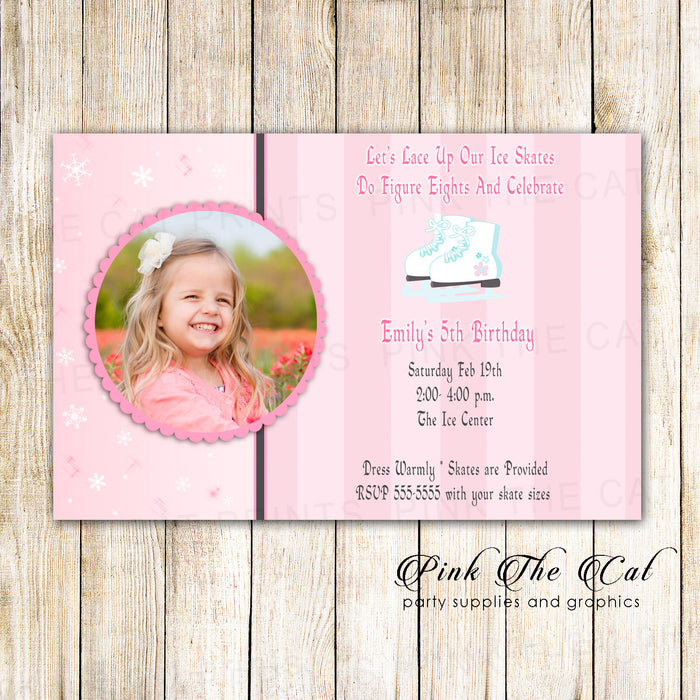 Ice Skating Girl Birthday Invitation Photo Card Pink