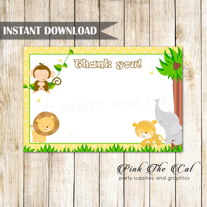 Yellow jungle thank you card blank birthday baby shower printable