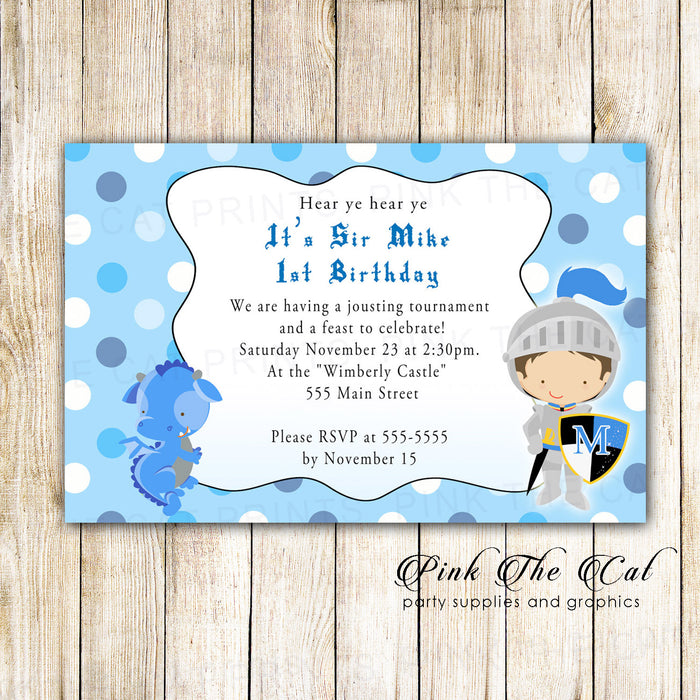 Knight Dragon Invitation Boy Birthday Baby Shower Printable