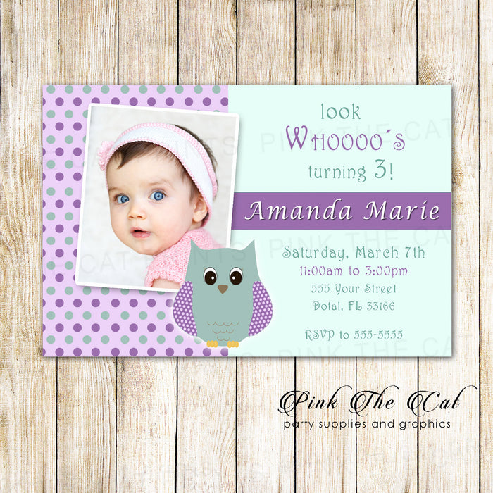 30 invitations owl mint purple girl birthday photo card