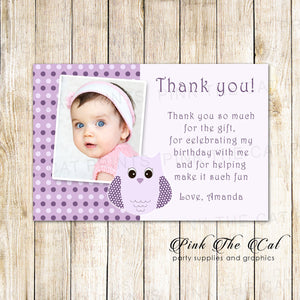 Owl Thank You Note Photo Card Purple Girl Birthday Printable