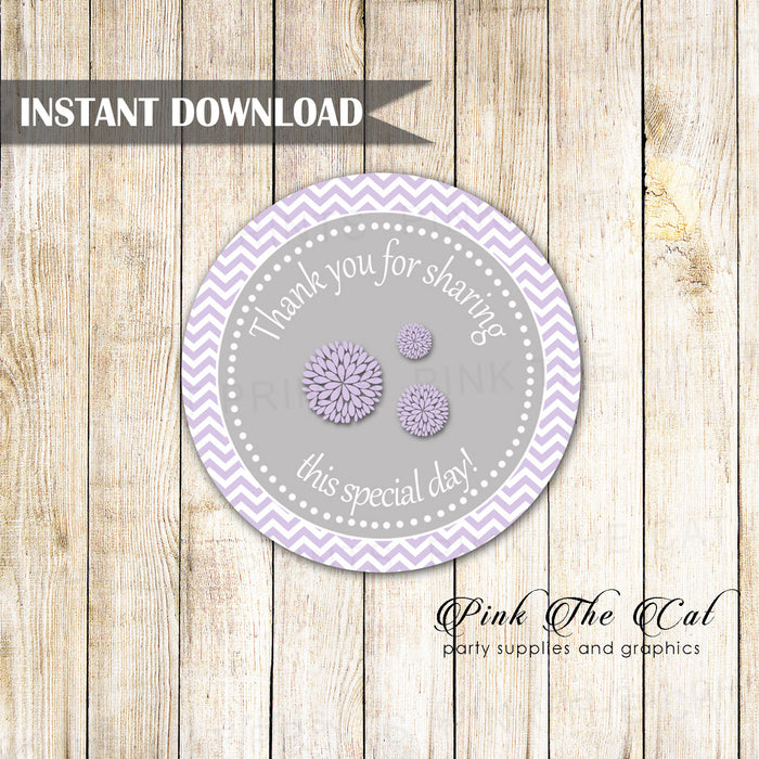 Peony lavender favor label sticker tag birthday baby shower printable