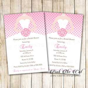 Dress Invitation Bridal Shower Sweet 16 Pink Polka Dots Printable