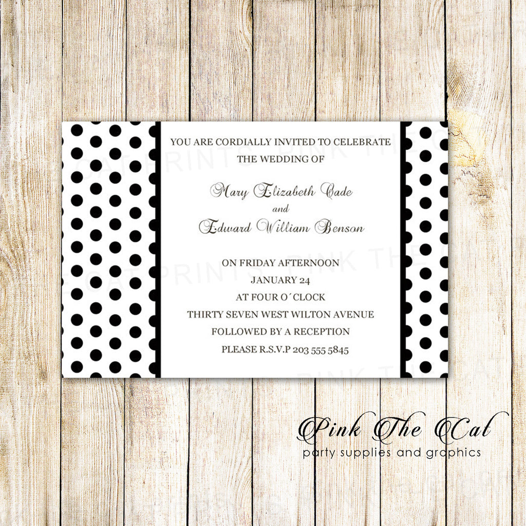 Black White Wedding Invitation Polka Dots Printable