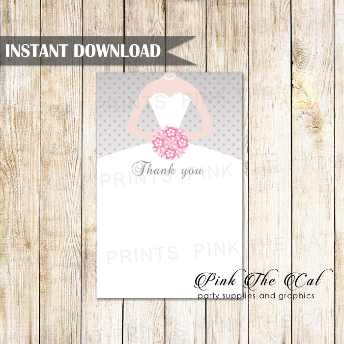 Dress bridal shower thank you card gray pink printable