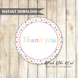 Polka Dots Thank You Tags Labels Pink Blue Birthday Baby Shower Printable