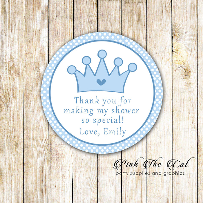 Prince Thank You Tag Favor Sticker Label Birthday Baby Shower