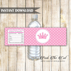 Princess bottle label pink white birthday baby shower printable