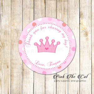 40 stickers princess birthday baby shower thank you label pink