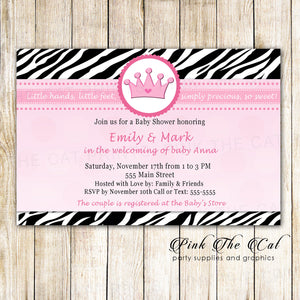 Princess Invitation Girl Birthday Baby Shower Zebra Pink