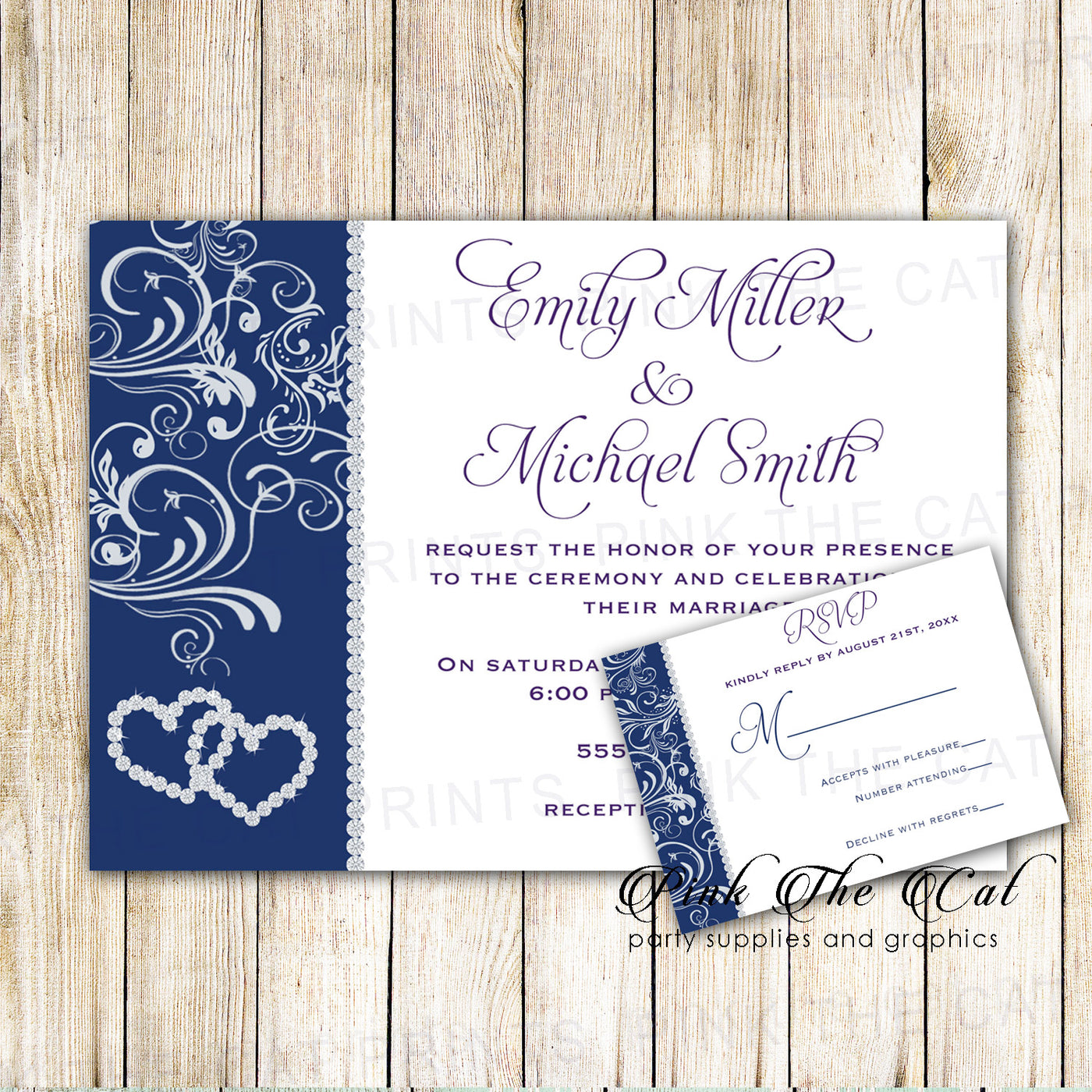 image regarding Printable Rsvp Card referred to as Marriage Invitation RSVP Card Rhinestone Hearts Blue Printable