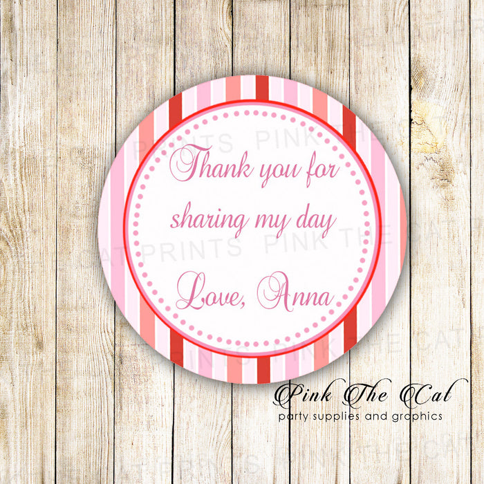 40 stickers pink red stripes baby shower birthday favor labels
