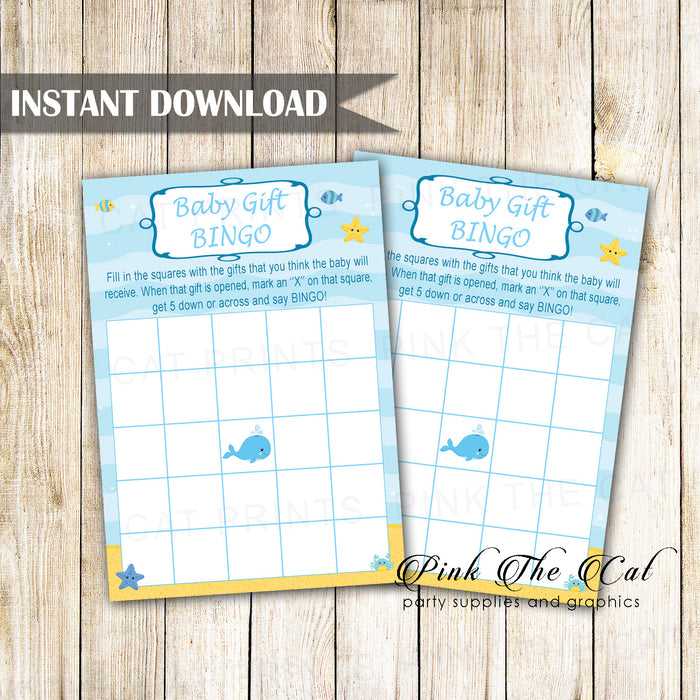 Baby Shower Bingo Card Under The Sea Whale Printable