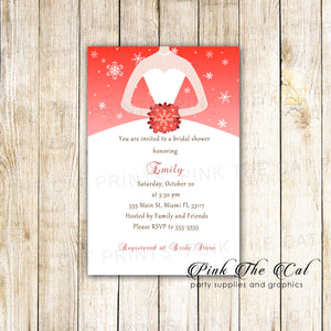 30 invitations winter bridal wedding shower christmas red
