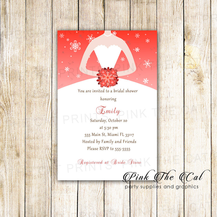 Winter Wonderland Dress Invitation Bridal Shower Red