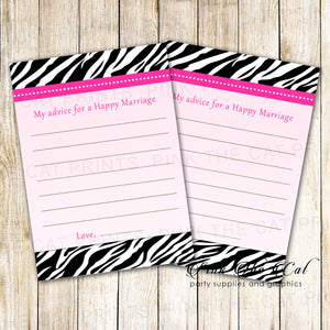 30 Bridal shower wedding advice cards pink black zebra