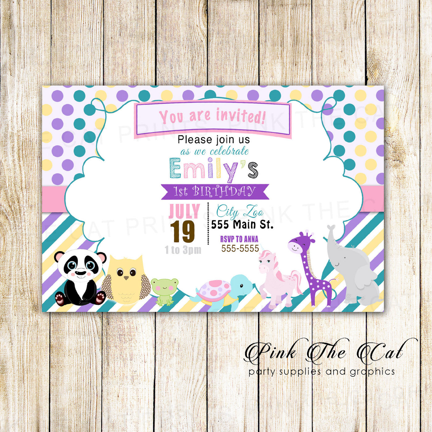 30 Invitations Zoo Animals Kids Birthday Party Pink The Cat