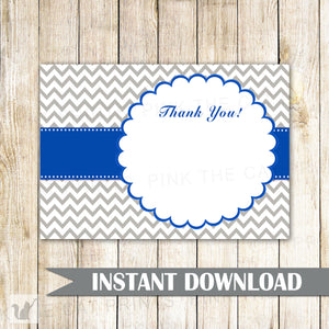 Blank Thank You Card Note Royal Blue Grey Baby Bridal Shower Birthday
