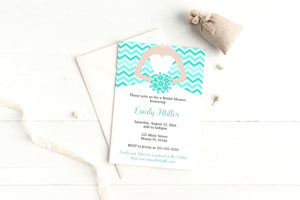Dress invitation teal quiceanera sweet 16 or bridal shower