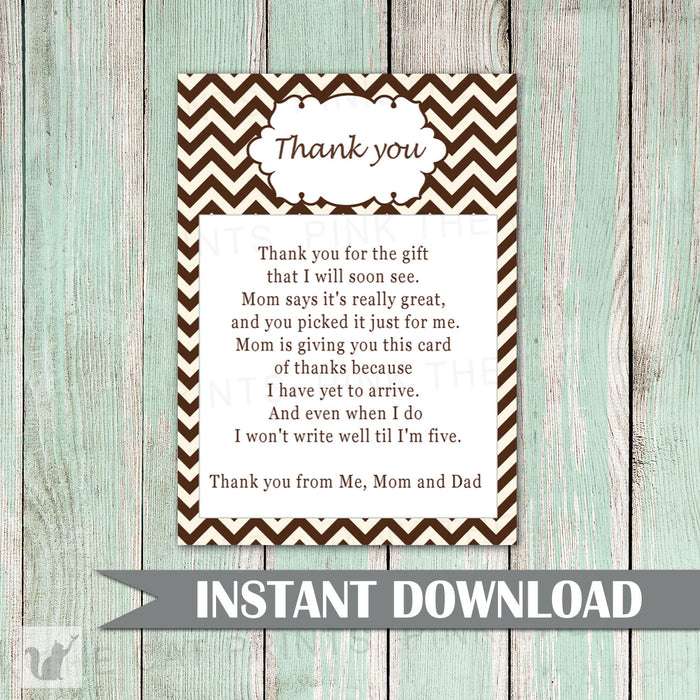Printable Brown Chevron Zig Zag Pattern Unisex Baby Shower Thank You Card Note - Party Thank You Card Boy Girl Ivory INSTANT DOWNLOAD