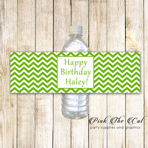 Green Chevron Bottle Label Birthday Baby Shower