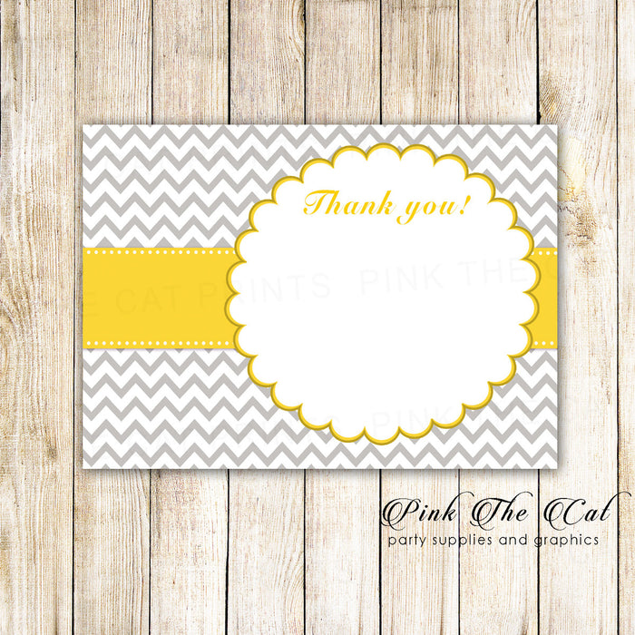 Yellow Grey Chevron Thank You Card Note