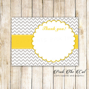 30 Thank You Cards Yellow Silver Chevron + Envelopes