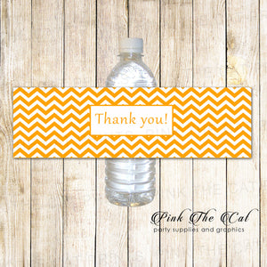 30 Bottle Labels Orange Chevron Birthday Baby Shower