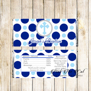 30 Candy Bar Wrappers Boy Baptism Christening Blue Dots