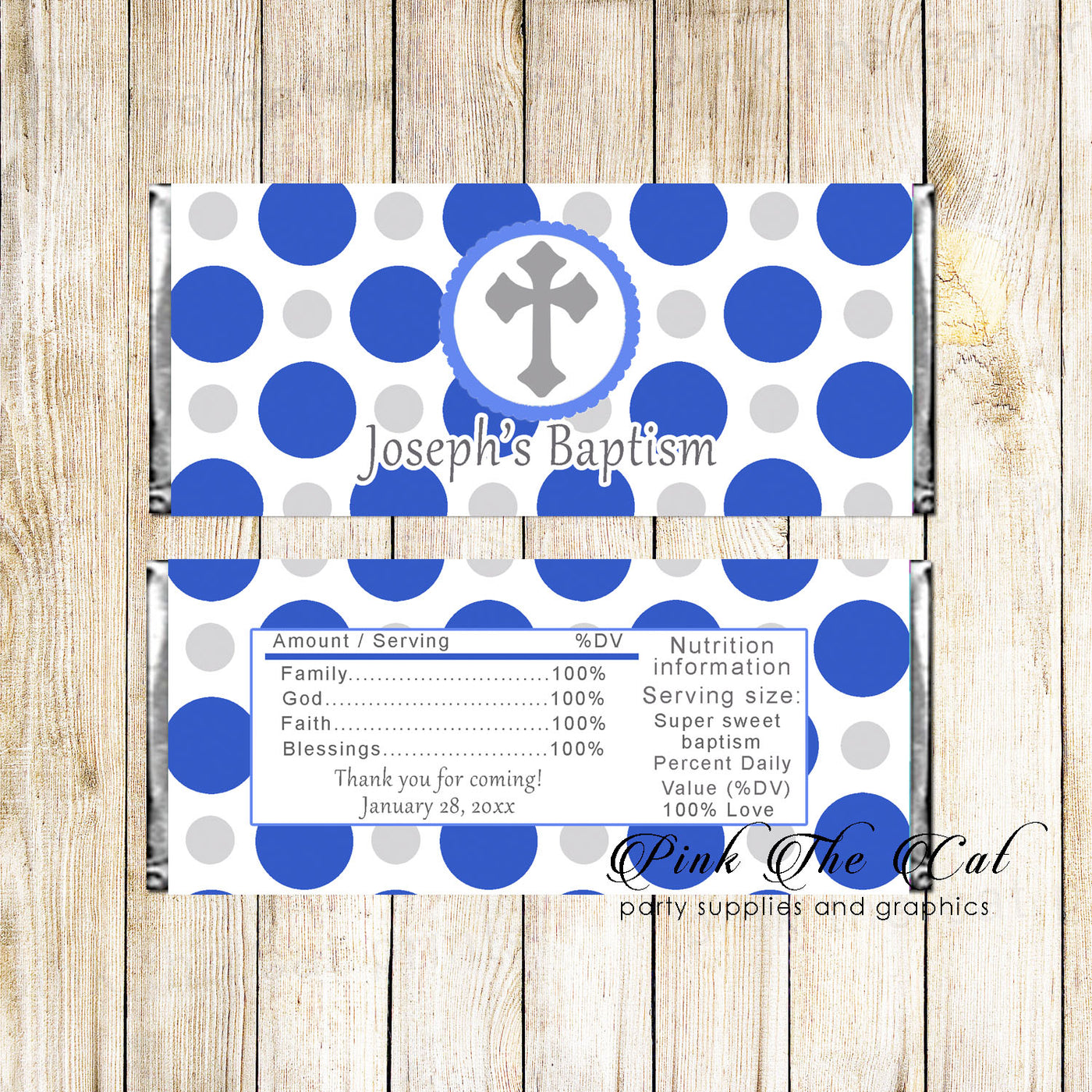 graphic relating to Printable Candy Labels called Sweet Bar Wrappers Boy Baptism Christening Blue Silver Printable