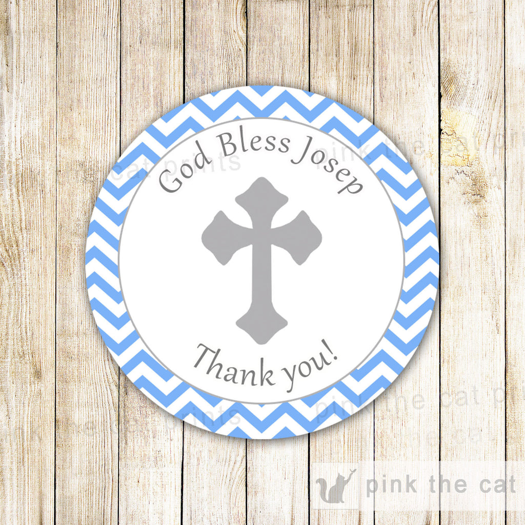 Blue Boy Baptism Thank You Label Christening Tag Communion Sticker