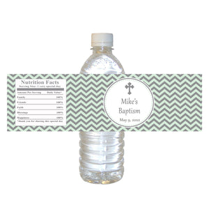 30 Baptism Christening Bottle Labels Mint Silver