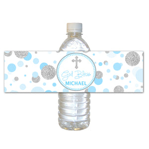 30 Baptism Christening Bottle Labels Stickers Blue Silver Confetti