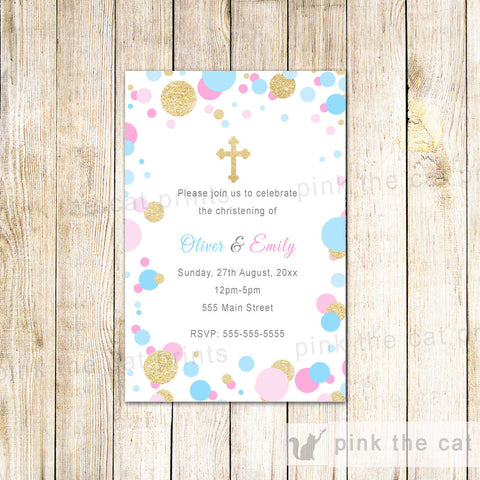 25 Invitations Confetti Pink Blue Baptism Christening