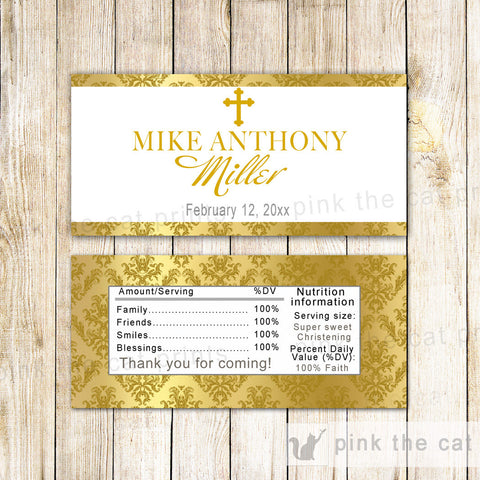 50 Candy Bar Wrappers Gold Baptism Christening