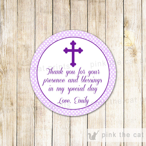 purple christening labels