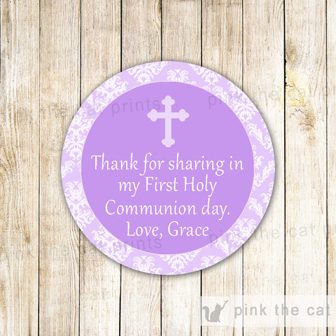 communion favor label printable lavender