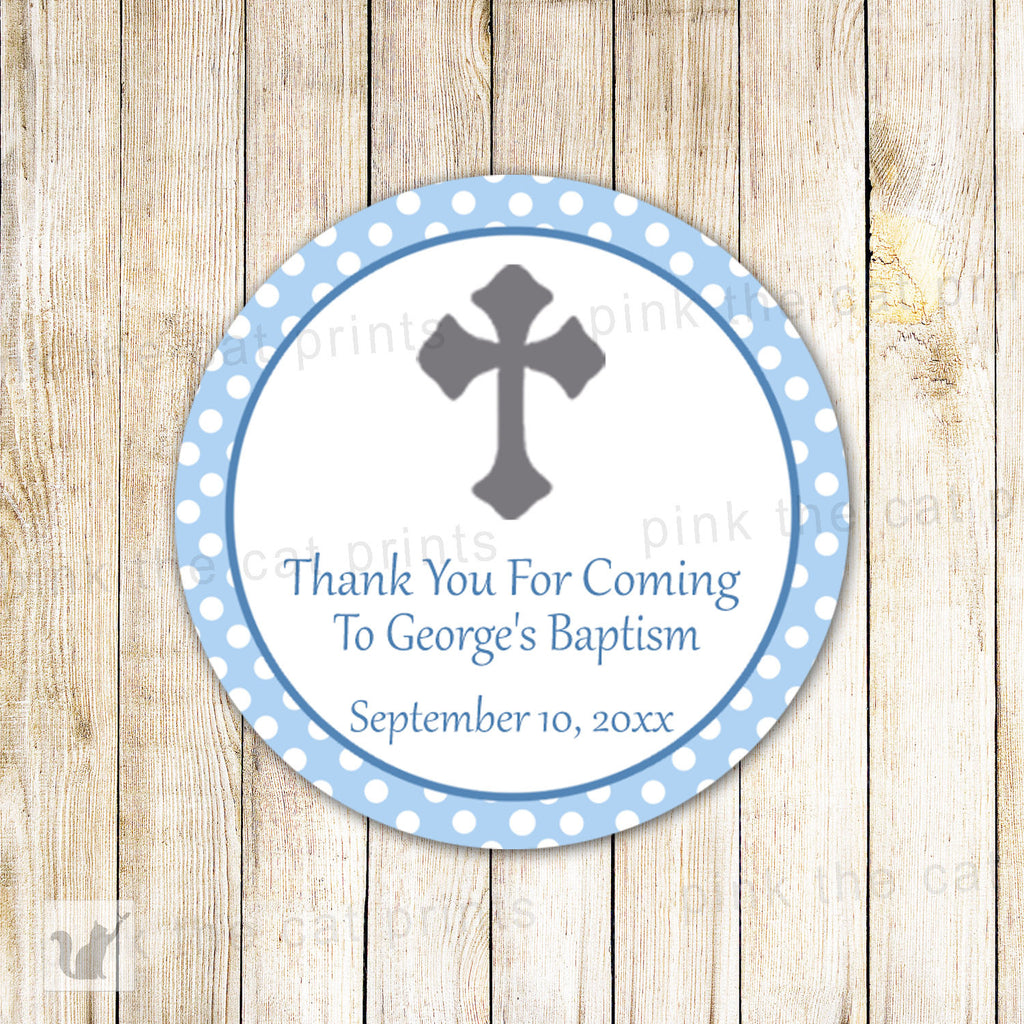 40 Stickers Boy Baptism Gift Favor Label Christening Blue Gray
