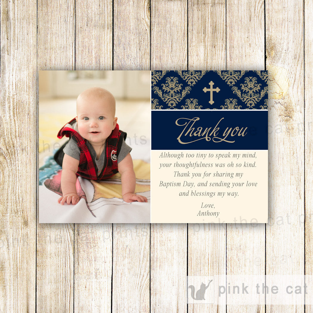 Boy Baptism Thank You Note Photo Card Communion Printable Blue Gold