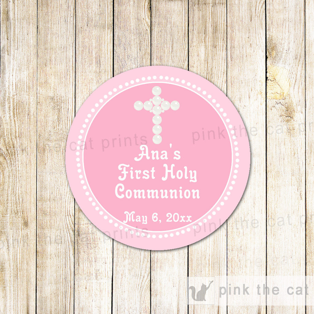 pink pearls baptism label