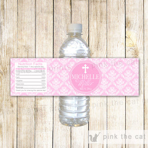 Bottle Labels First Holy Communion Baptism Pink