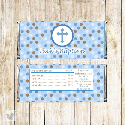 50 Candy Bar Wrappers  Boy Baptism Christening Blue Brown