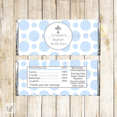 50 Candy Bar Wrappers Boy Baptism Christening Blue