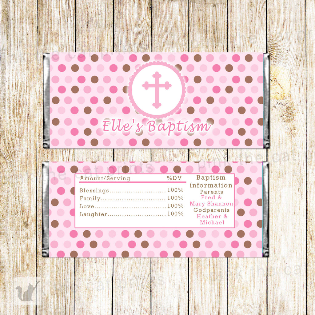 50 Candy Bar Wrappers Girl Baptism Christening Pink