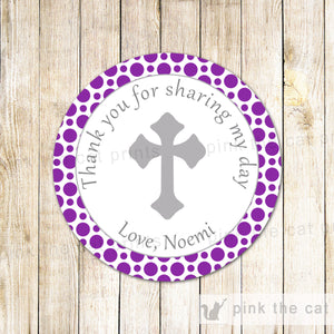 40 Christening Baptism Favor Label Communion Purple